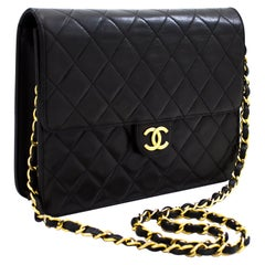 CHANEL Small Chain Shoulder Bag Black Clutch Flap Quilted Lambskin Leather