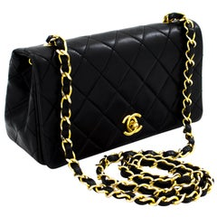 CHANEL Small Chain Shoulder Bag Black Flap Quilted Lambskin