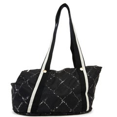 CHANEL Small Dog Bag in Black and Gray Canvas