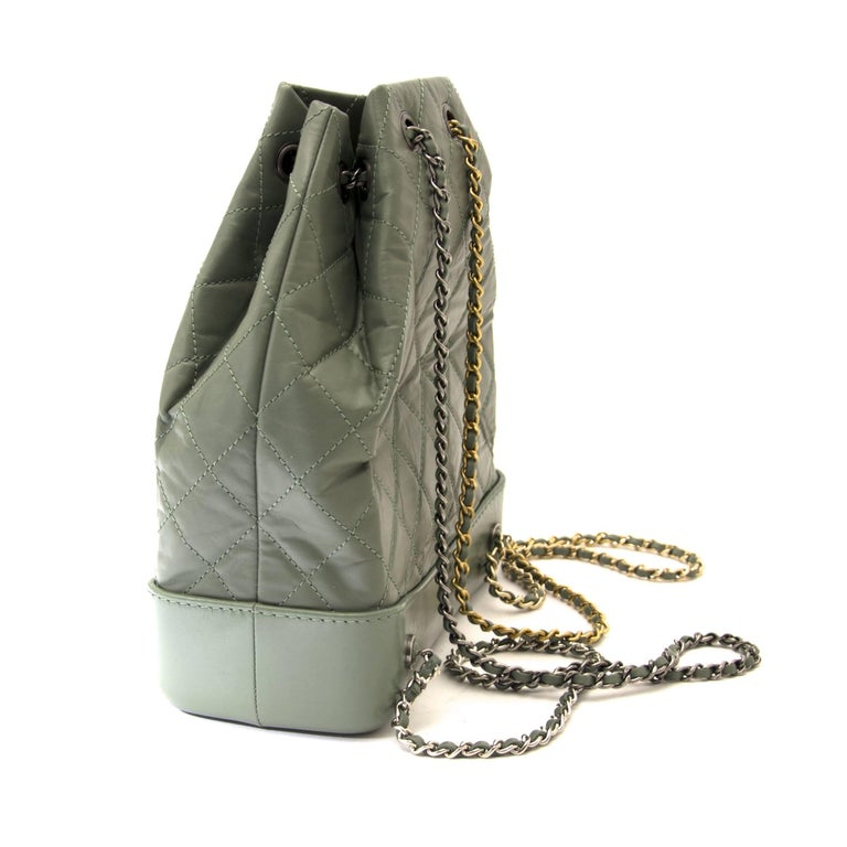 43bcabe85168 Gray Chanel Small Green Gabrielle Backpack For Sale