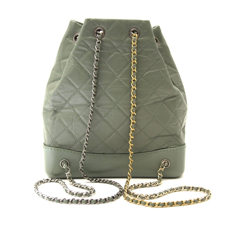 1e790a4ecd90 Chanel Small Green Gabrielle Backpack In Excellent Condition For Sale In  Antwerp, BE
