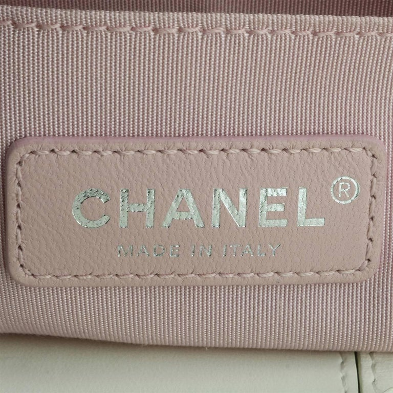 Chanel Small LED Boy White Lambskin Bag with Rainbow Hardware, 2017 For Sale 12