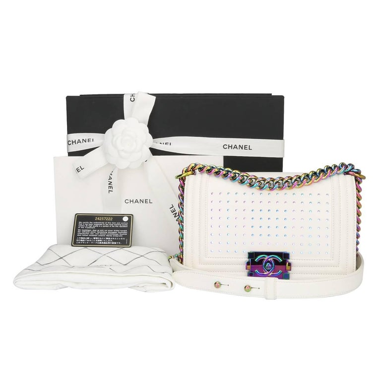 Chanel Small LED Boy White Lambskin Bag with Rainbow Hardware, 2017 For Sale 15