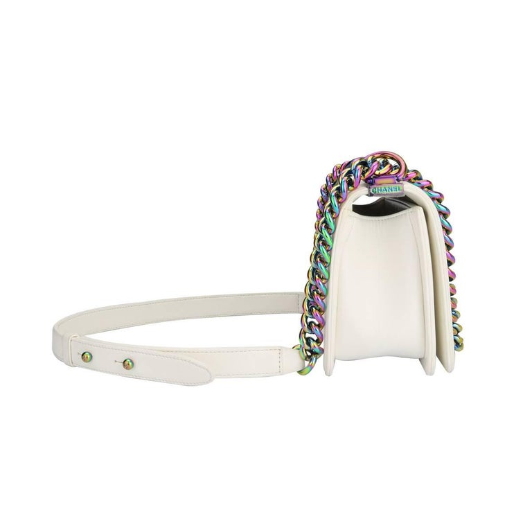 Women's or Men's Chanel Small LED Boy White Lambskin Bag with Rainbow Hardware, 2017 For Sale