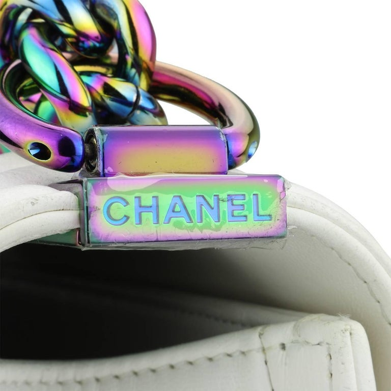 Chanel Small LED Boy White Lambskin Bag with Rainbow Hardware, 2017 For Sale 1