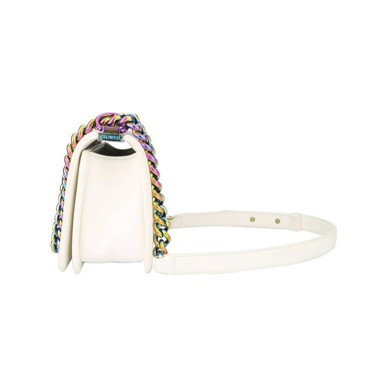 Chanel Small LED Boy White Lambskin Bag with Rainbow Hardware, 2017 For Sale 2