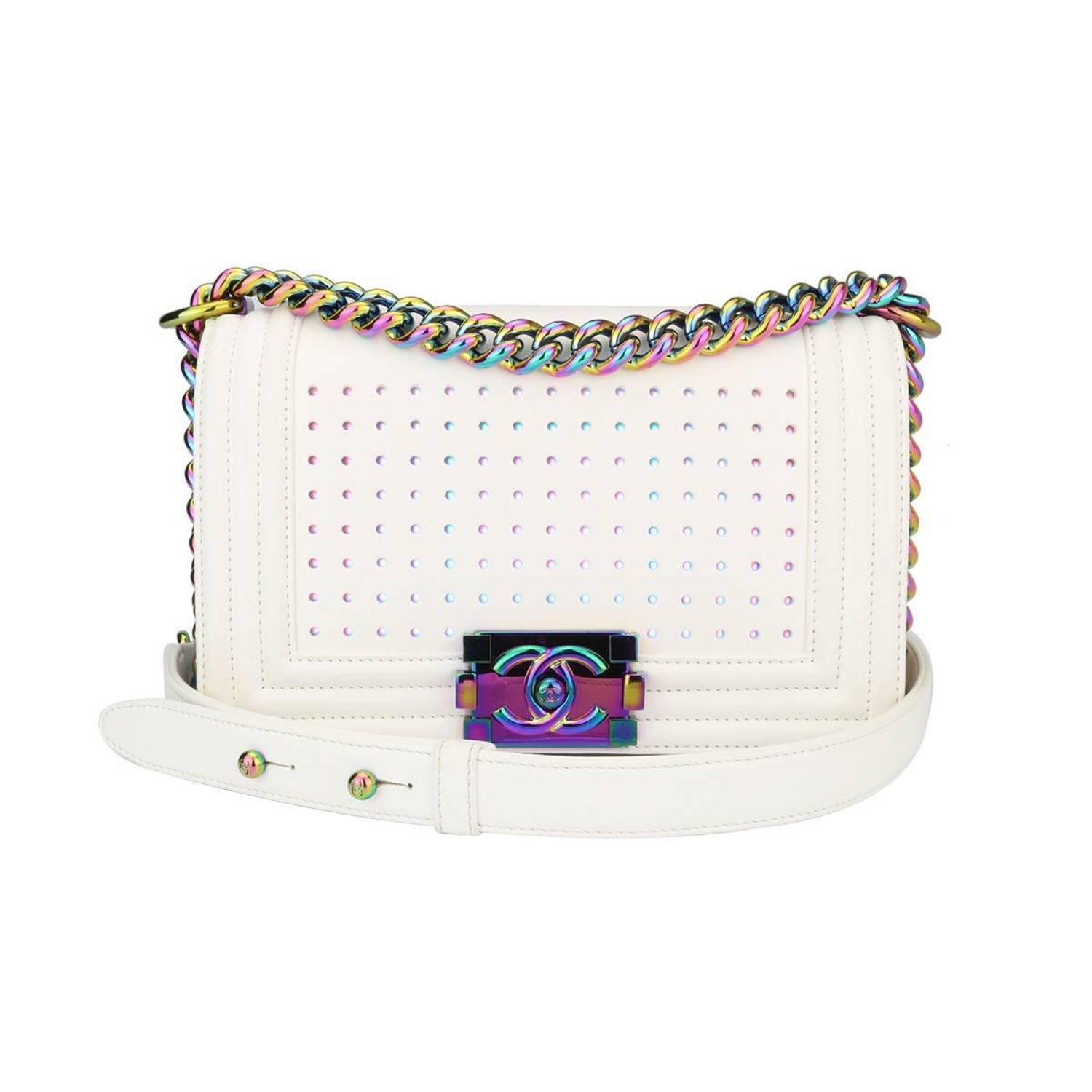 12e58d7bde9ad0 Chanel Small LED Boy White Lambskin Bag with Rainbow Hardware, 2017 For  Sale at 1stdibs