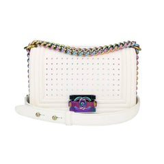 Chanel Small LED Boy White Lambskin Bag with Rainbow Hardware, 2017