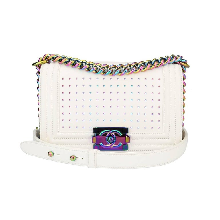 2d6913b701f0 Chanel Small LED Boy White Lambskin Bag with Rainbow Hardware, 2017 For Sale