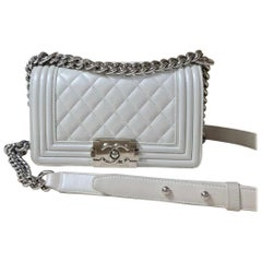 CHANEL Small Pearl White Calfskin Boy Bag