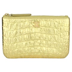 CHANEL Small Pouch Metallic Gold Crocodile Embossed Calfskin w/GHW 2019