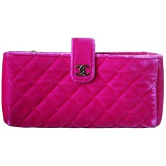 Chanel Small Quilted Velvet Clutch with Long Chain