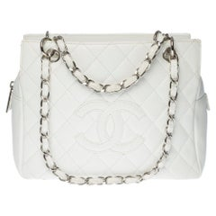 Chanel Small Shopping Tote in white grained caviar leather, silver hardware
