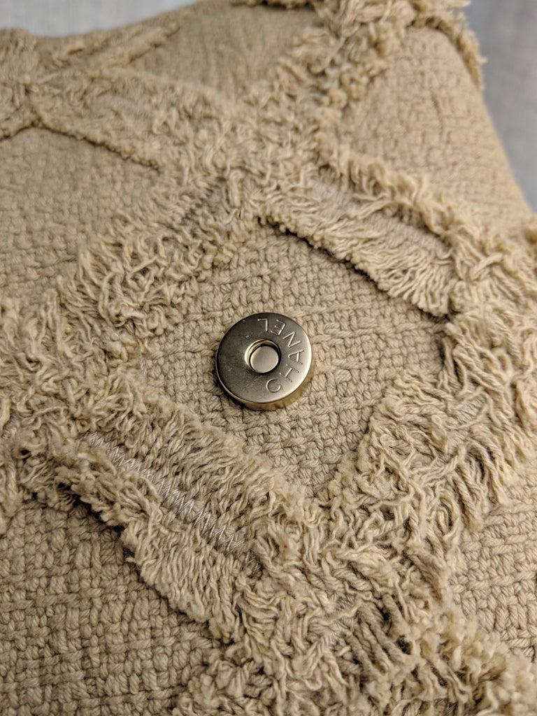 Chanel Small Sized Beige Tweed Fringe Organic Crochet Crossbody Flap Bag For Sale 6
