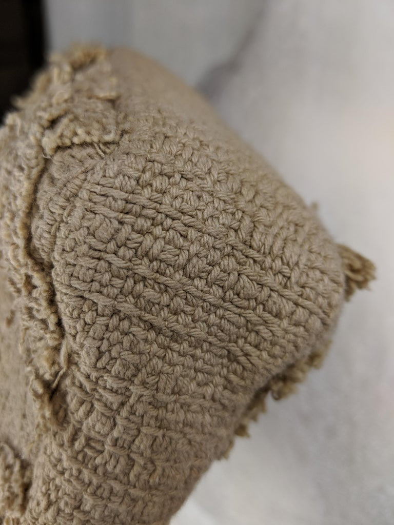 Chanel Small Sized Beige Tweed Fringe Organic Crochet Crossbody Flap Bag For Sale 8