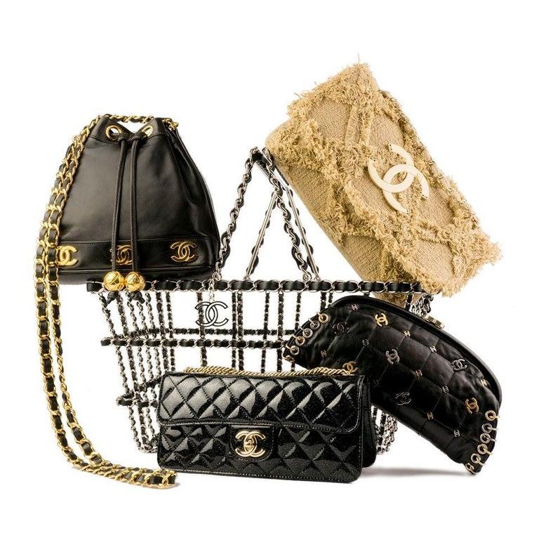 Chanel Small Sized Beige Tweed Fringe Organic Crochet Crossbody Flap Bag For Sale 2