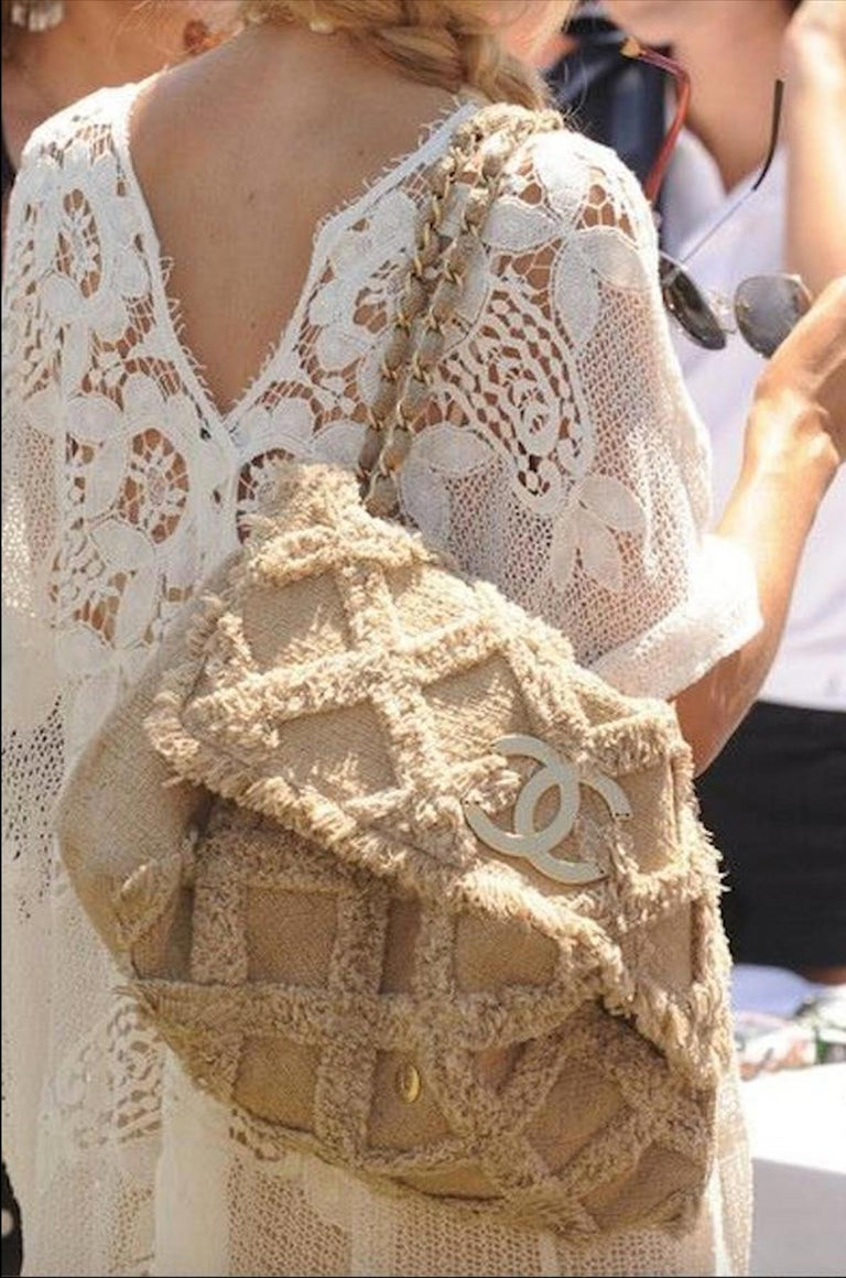 Chanel Small Sized Beige Tweed Fringe Organic Crochet Crossbody Flap Bag In Good Condition For Sale In Miami, FL