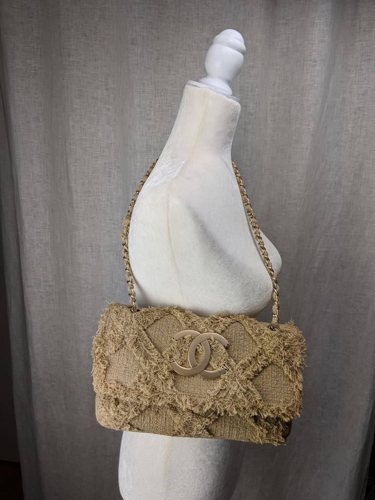 Chanel Small Sized Beige Tweed Fringe Organic Crochet Crossbody Flap Bag For Sale 4