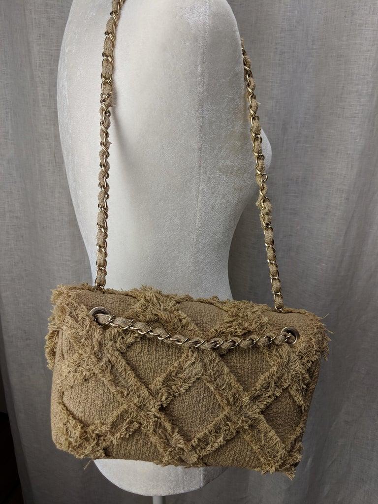 Chanel Small Sized Beige Tweed Fringe Organic Crochet Crossbody Flap Bag For Sale 3