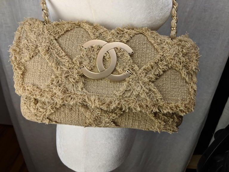 Chanel Small Sized Beige Tweed Fringe Organic Crochet Crossbody Flap Bag For Sale 1