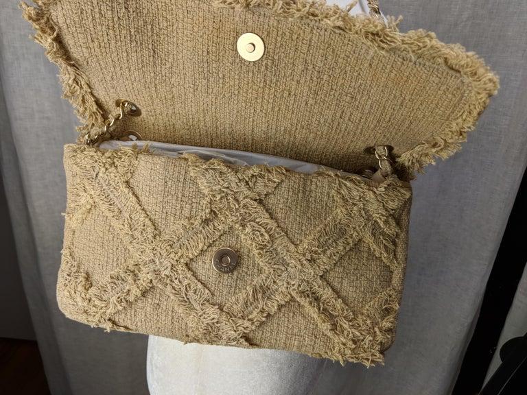 Chanel Small Sized Beige Tweed Fringe Organic Crochet Crossbody Flap Bag For Sale 5