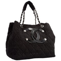 Chanel Small Texturized Tote Mini Coco Cabas Black Microfiber Nylon Shopping Bag