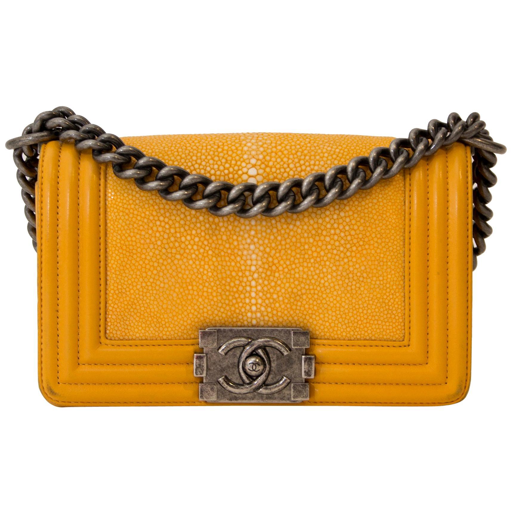 Chanel Small Yellow Galuchat Stingray Lambskin Boy Bag