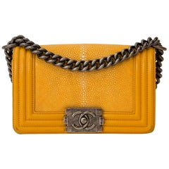 Chanel Small Yellow Galuchat Stingray Lambskin Boy Bag