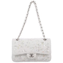 Chanel Snow White Tweed Bead Iridescent Silver Evening Shoulder Flap Bag