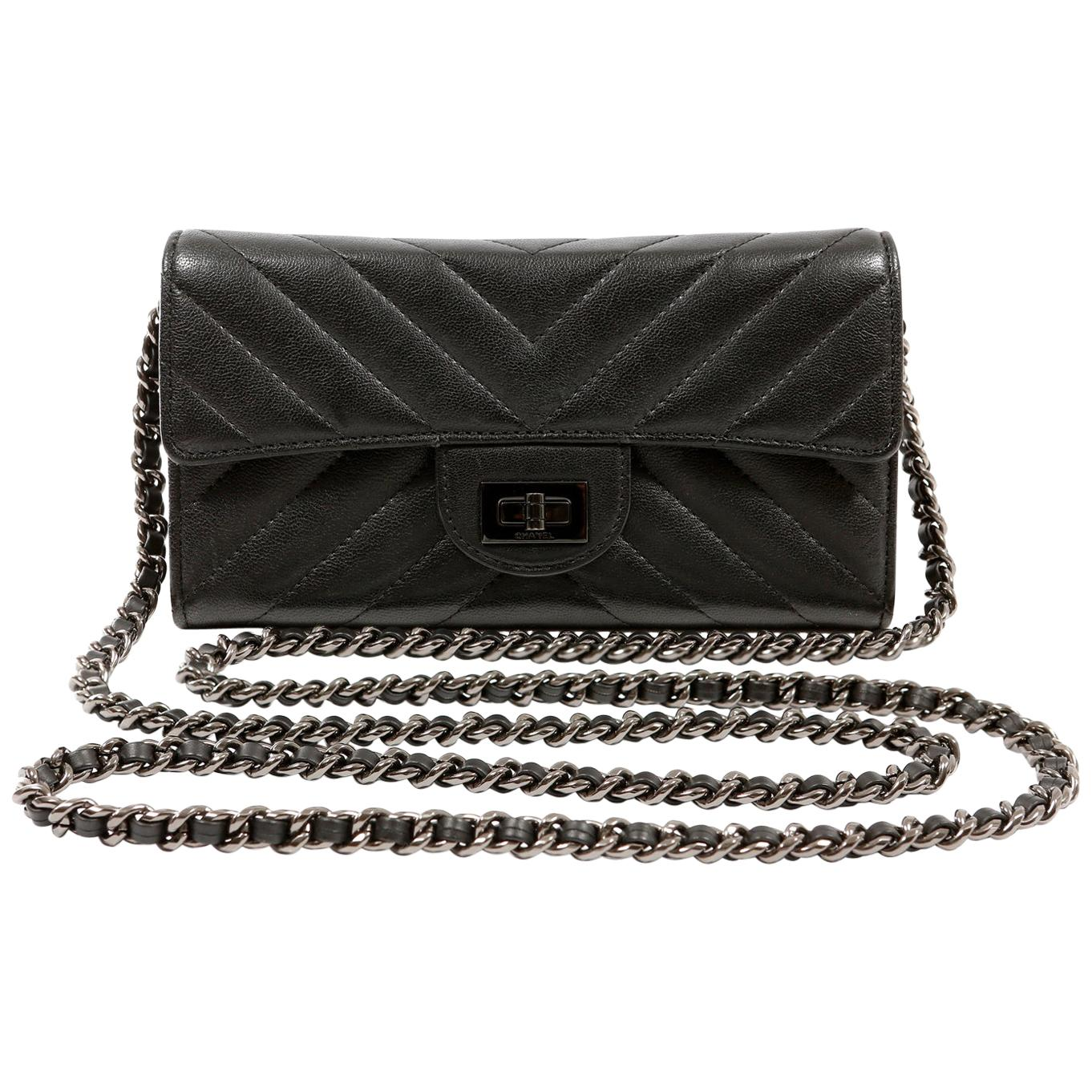 Chanel So Black Chevron Leather Wallet on a Chain