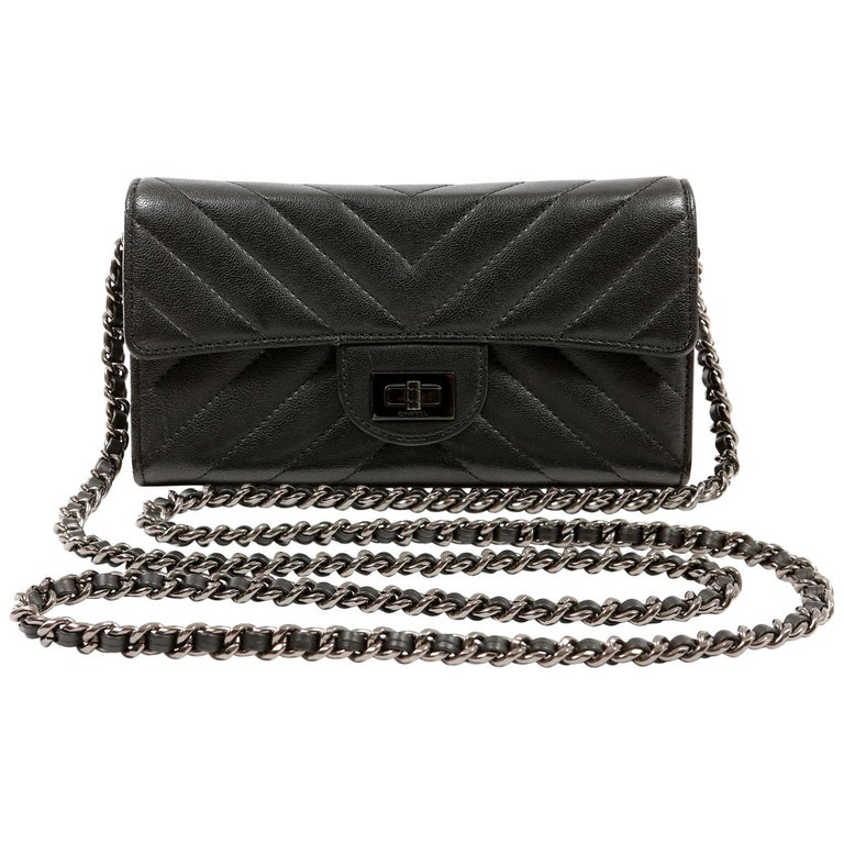 Chanel So Black Chevron Leather Wallet on a Chain For Sale