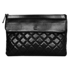 Chanel SO Black Lambskin Leather Quilted Pouch/Clutch Bag