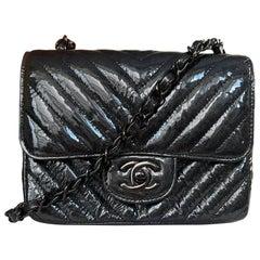 Chanel SO Black Metallic Patent Leather Chevron Quilted Mini Square Classic Flap