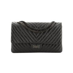 Chanel So Black Reissue 2.55 Flap Bag Chevron Aged Calfskin 227