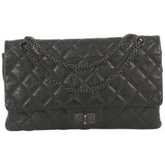 Chanel So Black Reissue 2.55 Flap Bag Quilted Glazed Aged Calfskin 227