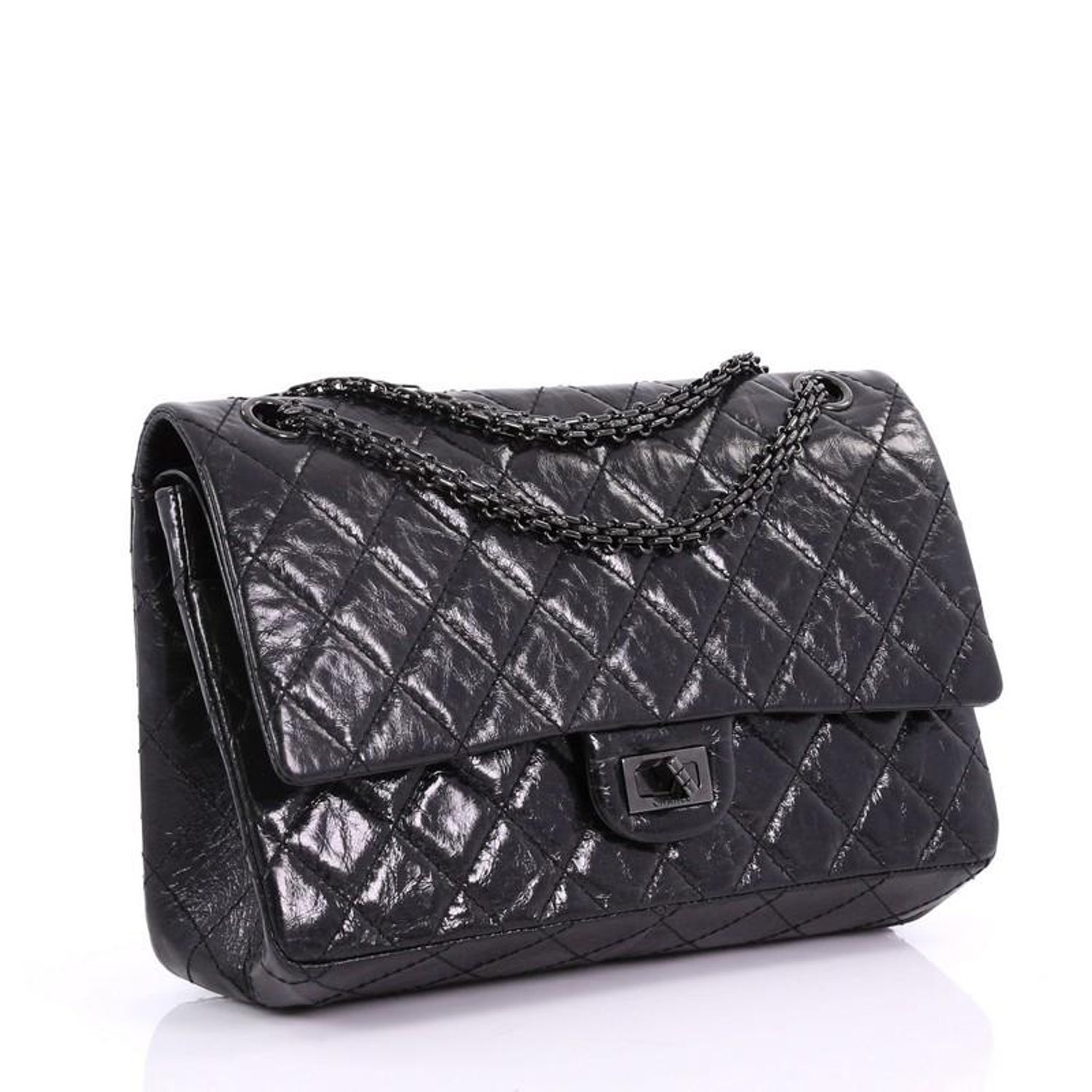 afc07abe9d0b Chanel So Black Reissue 2.55 Handbag Quilted Glazed Calfskin 226 at 1stdibs