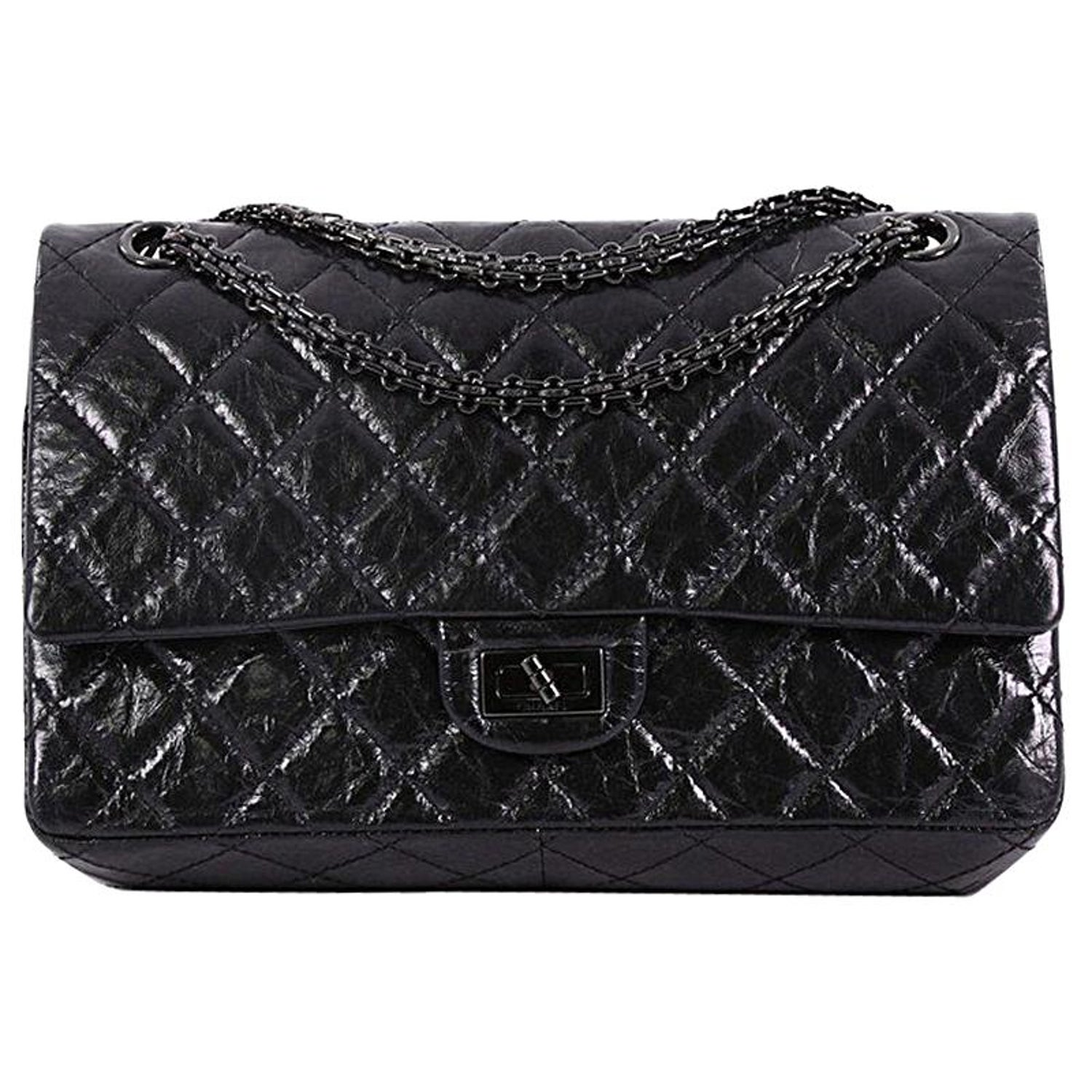 312a305b06a3 Chanel So Black Reissue 2 55 Handbag Quilted Glazed Calfskin 226 At
