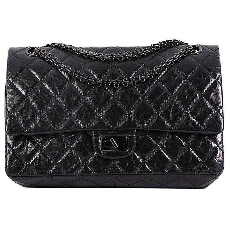 6707fc52a7ca Chanel So Black Reissue 2.55 Handbag Quilted Glazed Calfskin 226 For Sale