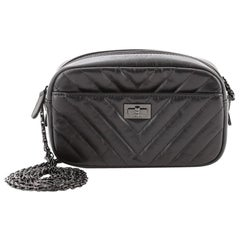 Chanel So Black Reissue Camera Crossbody Bag Chevron Aged Calfskin Mini