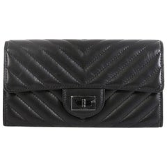 Chanel So Black Reissue Flap Wallet Chevron Leather Long