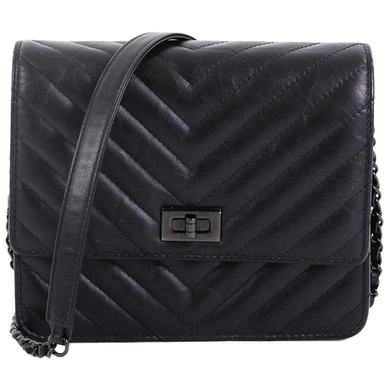 416ce1db9d9757 Chanel So Black Reissue Square Wallet on Chain Chevron Aged Calfskin, For  Sale