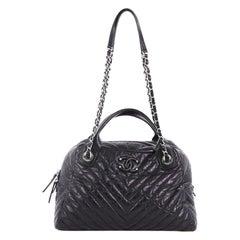 Chanel Soft Bowling Bag Chevron Aged Calfskin Medium
