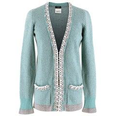 Chanel Soft Cashmere Knit Chain Trim Cardigan - Size US 0-2