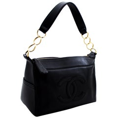CHANEL Soft Caviar Chain Shoulder Bag Leather Black Zipper
