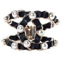 Chanel Soldout Black Lambskin Pearl Chain Gold Cuff Bracelet