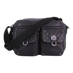 Chanel Sport Line Double Pocket Zip Messenger Leather Medium