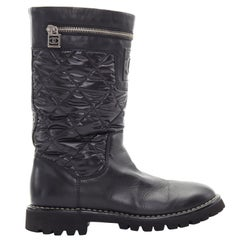 CHANEL Sports black diamond quilted nylon CC zip detail round toe calf boot EU36