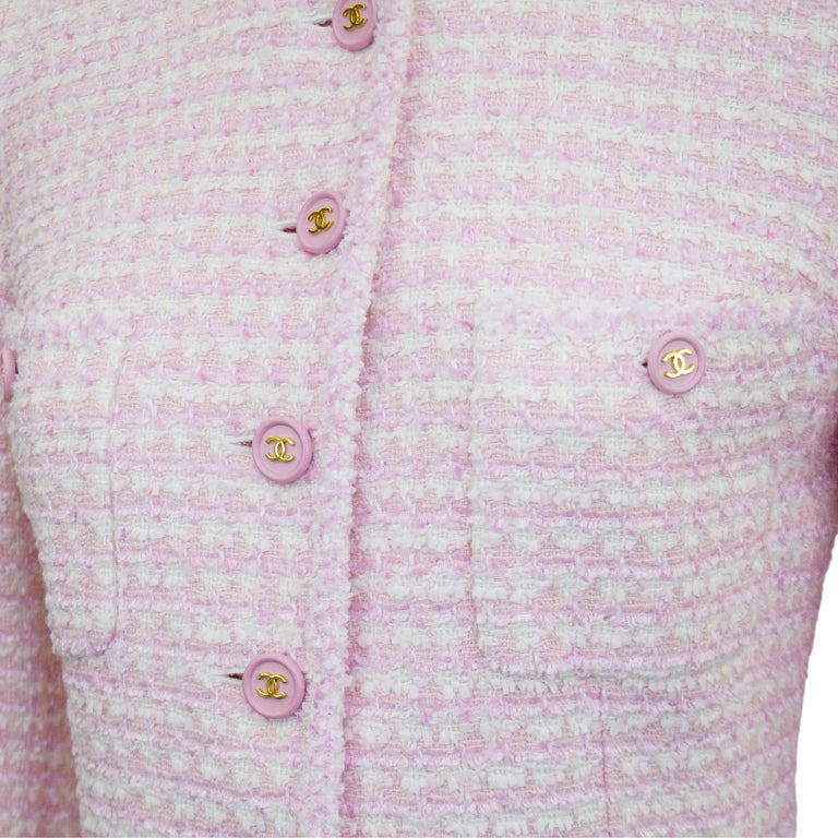 Women's Chanel Spring 1998 Pink Bouclé 3/4 Length Jacket  For Sale