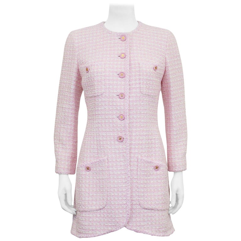 Chanel Spring 1998 Pink Bouclé 3/4 Length Jacket  For Sale