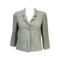 Chanel Spring 1999 Graphite and Silver Micro Weave Cropped Jacket